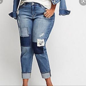 Lane Bryant Patched Distressed Capri Jeans